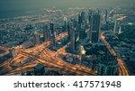 dubai downtown night scene with ...   Shutterstock . vector #417571948