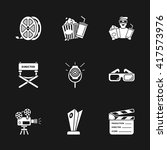 nine modern cinema icons | Shutterstock .eps vector #417573976