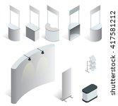 isometric set of 9 exhibition... | Shutterstock .eps vector #417581212