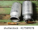 aluminum old milk cans on a... | Shutterstock . vector #417589078