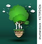 concept of eco with family... | Shutterstock .eps vector #417592426