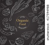 organic food banner for menu... | Shutterstock .eps vector #417594988