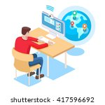 the guy communicates online on... | Shutterstock .eps vector #417596692