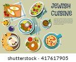 jewish cuisine icon with... | Shutterstock .eps vector #417617905