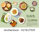 dutch cuisine icon with cheese...   Shutterstock .eps vector #417617935