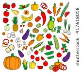 fresh flat fruits and... | Shutterstock .eps vector #417618058