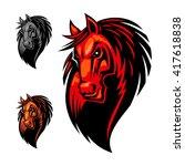 wild cartoon horse for mascot... | Shutterstock .eps vector #417618838