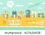 Beach Huts On Seafront. Summer...