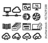 network  server icon set | Shutterstock .eps vector #417629188