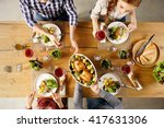top view of man passing food... | Shutterstock . vector #417631306