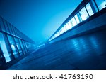 modern business blue corridor in perspective - stock photo