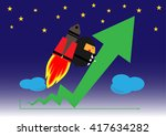 businessman with rocket up high ... | Shutterstock .eps vector #417634282