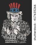 uncle sam artwork for clothing... | Shutterstock .eps vector #417635266