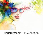 beautiful woman with sunglasses.... | Shutterstock . vector #417640576