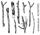 Vector Set Of Ink Drawing Wood...