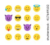 abstract funny flat style emoji ... | Shutterstock .eps vector #417649102