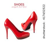 beautiful red shoes isolated on ... | Shutterstock . vector #417652522