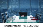composite image of boardroom on ... | Shutterstock . vector #417657952