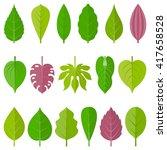 Leaves Icon Set 1  Flat Design
