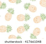 pineapple seamless pattern.... | Shutterstock .eps vector #417661048