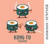 vector kung fu sushi characters ... | Shutterstock .eps vector #417671428