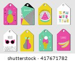 summer tags set. sticker in... | Shutterstock .eps vector #417671782