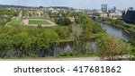 Small photo of VILNIUS, LITHUANIA - MAY 09, 2016: Panorama of the spring city from an observation ground of medical faculty of Vilnius university on the Chiurlionio street. Here the river Neris does abrupt turn