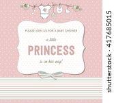 shabby chic baby girl shower... | Shutterstock .eps vector #417685015