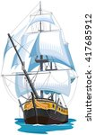 sailing ship isolated. color... | Shutterstock .eps vector #417685912
