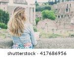 pretty female tourist on the... | Shutterstock . vector #417686956