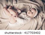 full lenth body of little baby... | Shutterstock . vector #417703402