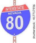 interstate highway 80 road sign ... | Shutterstock .eps vector #417717556