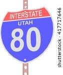 interstate highway 80 road sign ... | Shutterstock .eps vector #417717646