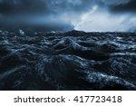 Rough Blue Ocean Against Blue...