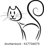 abstract contoured cat  vector  ... | Shutterstock .eps vector #417736075