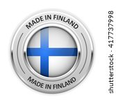 silver medal made in finland... | Shutterstock .eps vector #417737998