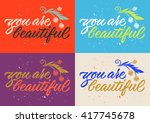 you are beautiful calligraphy ... | Shutterstock .eps vector #417745678