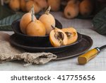 spring fruit  fresh loquat in a ... | Shutterstock . vector #417755656