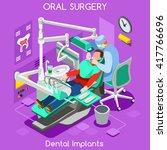 isometric dental implant teeth...   Shutterstock .eps vector #417766696