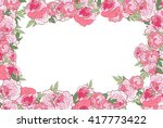pink peony floral border.... | Shutterstock . vector #417773422