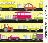 cartoon cars seamless pattern.... | Shutterstock .eps vector #417775852
