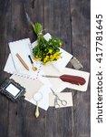 bouquet of flowers buttercups... | Shutterstock . vector #417781645