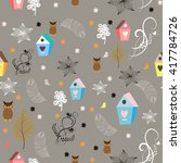 floral animal pattern seamless. ... | Shutterstock .eps vector #417784726