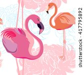 Seamless Pattern With Flamingo  ...