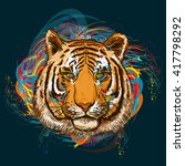 tiger in outer space art print...