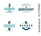 set of vintage barber shop... | Shutterstock .eps vector #417799495