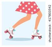 Roller Skating Girl Vector...