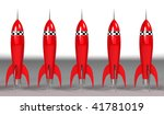 red toy rocket - backgrounds - stock photo