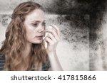 beautiful woman using the...   Shutterstock . vector #417815866