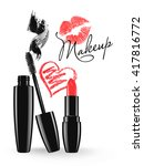makeup mascara tube  brush and... | Shutterstock .eps vector #417816772